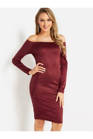 YOINS Women Bodycon Dresses - Off The Shoulder Long Sleeves Bodycon Dress