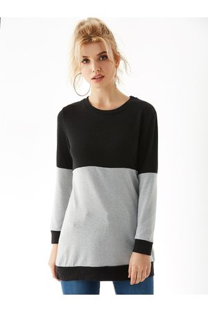 YOINS Patch Round Neck Long Sleeves Jumper
