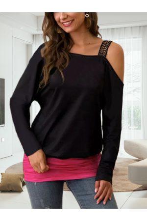 YOINS Women Sweatshirts - Black One Shoulder Ruched Sweatshirt