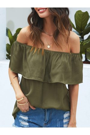 YOINS Women Short Sleeve - Army Green Off The Shoulder Short Sleeves Blouse