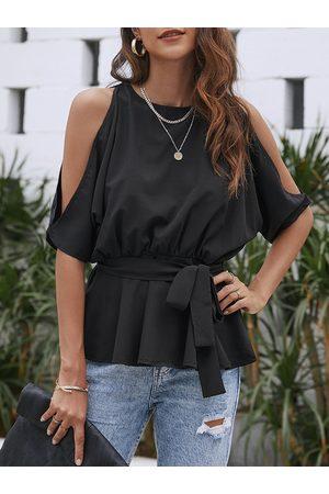 YOINS Women Blouses - Pleated Self-tie Design Cold Shoulder Blouse