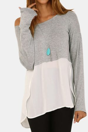 YOINS Women Long Sleeve - Splicing Long Sleeves Curved Hem T-shirt