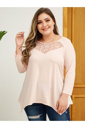 YOINS Women Long Sleeve - Plus Size Pink Lace Patchwork Long Sleeves Tee