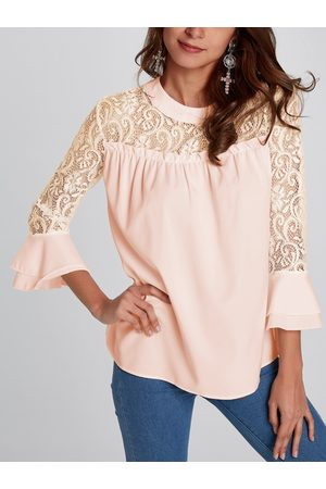YOINS Women Tops - Casual Lace Insert Stitching Chiffon Top in Apricot