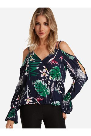 YOINS Women Printed Dresses - Tropical Floral Print Flared Sleeves Blouse