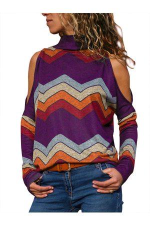 YOINS Women Turtlenecks - Color Block Random Stripe Cold Shoulder Turtleneck Tee