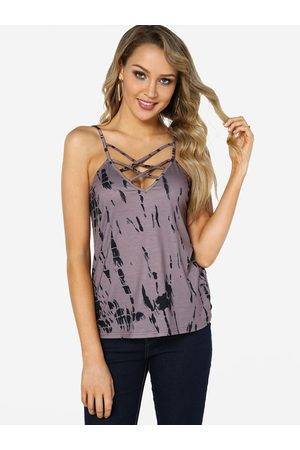YOINS Lace-up Design Random Print V-neck Sleeveless Camis