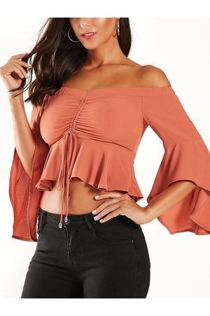 YOINS Off Shoulder Ruched Drawstring Ruffle Trim Blouse
