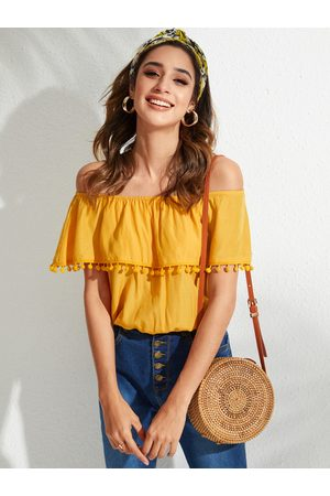 YOINS Yellow Tassel Details Off-the-Shoulder Blouse