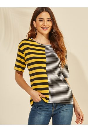 YOINS Round Neck Short Sleeves Color Matching Tee