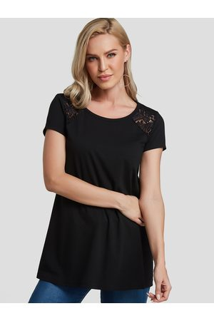YOINS Women Short Sleeve - Lace Insert Round Neck Short Sleeves Tee