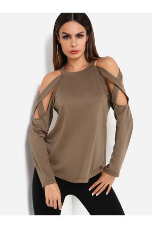 YOINS Women Long Sleeve - Lace-up Details Cold Shoulder Long Sleeves Curve Hem Sweatshirt