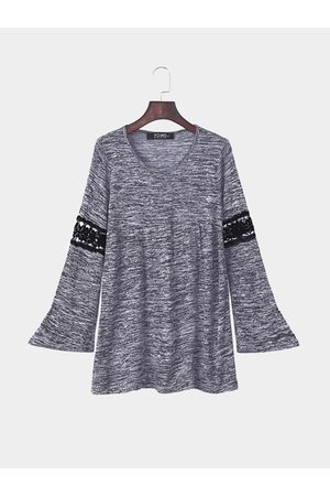 YOINS Women Long Sleeve - Flared Long Sleeve Lace Insert Round Neck Shirt