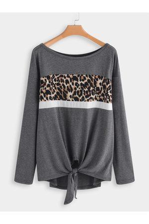 YOINS Women T-shirts - Leopard knotted Fashion T-shirt