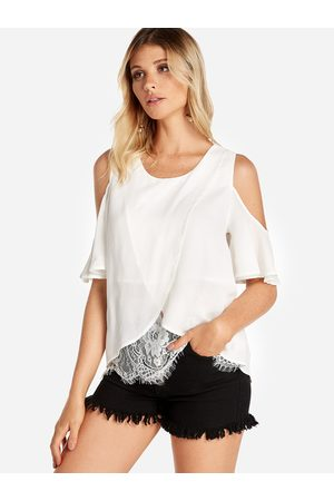 YOINS Women Blouses - Cold Shoulder Wrap Front Lace Hem Blouse