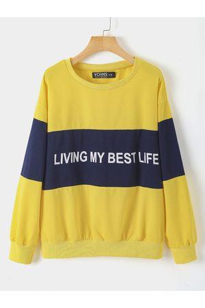 YOINS Women Sweatshirts - Plus Size Letter Round Neck Sweatshirt