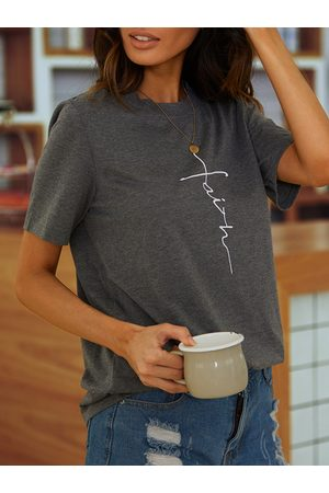 YOINS Women Short Sleeve - Grey Graphic Round Neck Short Sleeves Tee