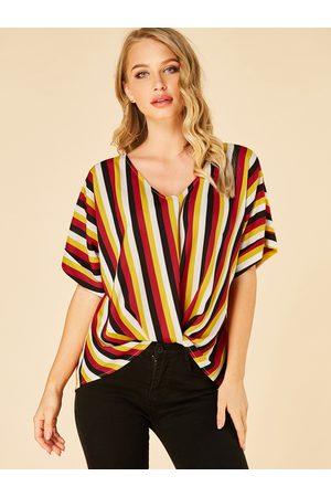 YOINS Multi Stripe V-neck Twist Half Sleeves Blouse