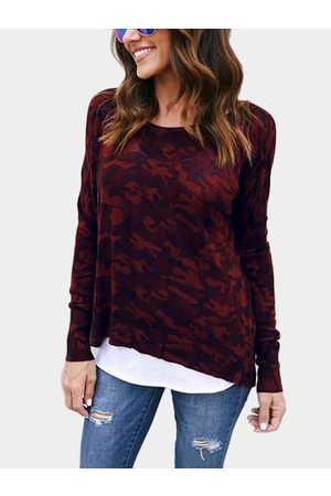 YOINS Women Long Sleeve - Camouflage Round Neck Long Sleeves T-shirt