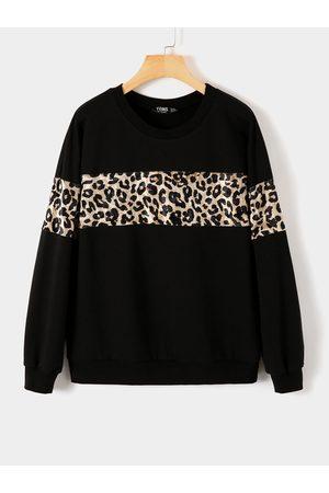 YOINS Women Long Sleeve - Black Leopard Round Neck Long Sleeves Sweatshirt