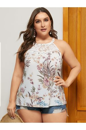 YOINS Women Halterneck Tops - Plus Size Pink Floral Print Halter Sleeveless Cami
