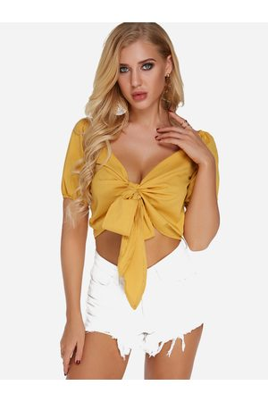 YOINS Women Crop Tops - V-neck Short Sleeves Tie-up Design Crop Top