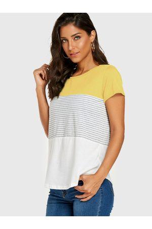 YOINS Yellow Stripe Round Neck Casual Tee