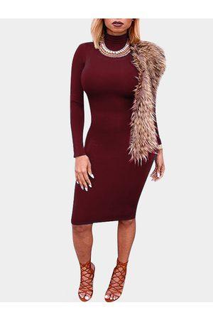 YOINS Women Bodycon Dresses - High Neck Long Sleeves Bodycon Mini Dress