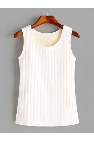 YOINS Women Tank Tops - Round Neck Sleeveless Plush Lining Tank Top