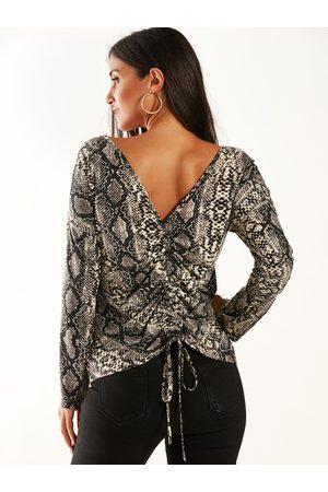 YOINS Women Long Sleeve - Backless Design Snake Round Neck Long Sleeves Tee