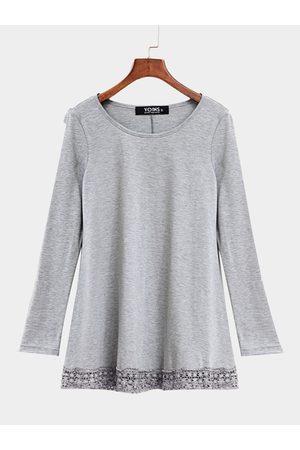 YOINS Women Long Sleeve - Asymmetric Jersey Top With Crochet Lace Hem