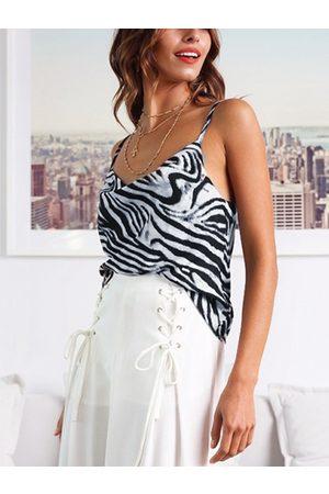 YOINS Women Camisoles - White Zebra Stripe Drape Sagging Satin Cami