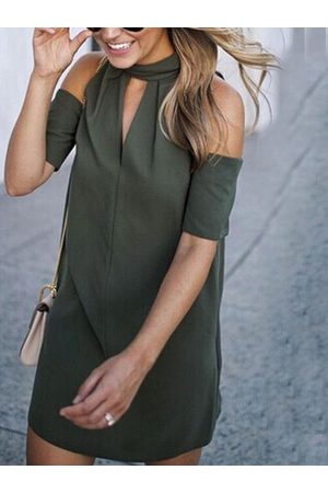 YOINS Women Halterneck Dresses - Armygreen Halter Cold Shoulder Mini Dress