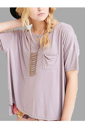 YOINS Women T-shirts - Solid Color T-shirt with High Low Hem