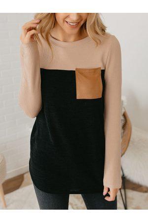 YOINS Women Long Sleeve - Black Button Design Round Neck Long Sleeves Tee