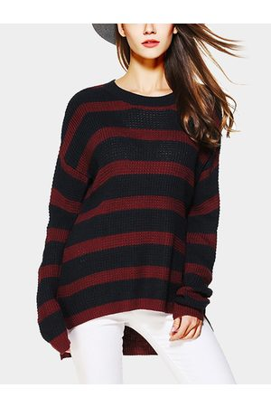 YOINS Women Long Sleeve - Red And Black Stripe Pattern Round Neck Long Sleeves Jumper