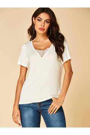 YOINS Lace Insert V Neck Short Sleeves Tee