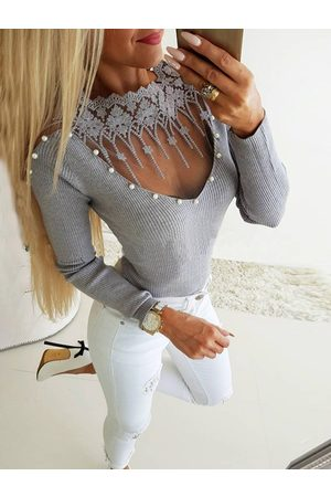 YOINS Women Tops - Grey Lace Insert Patch Mesh Pearl Knit Top