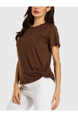 YOINS Women Short Sleeve - Coffee Twisted Round Neck Short Sleeves Tee