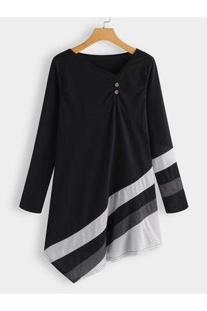YOINS Button Design V-neck Long Sleeves Dress With Stripe Irregular Hem