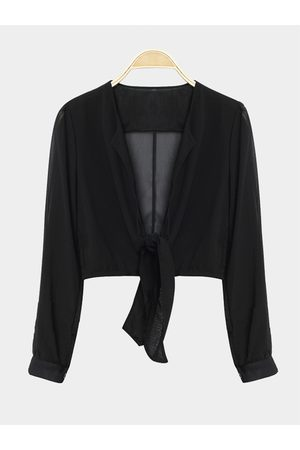 YOINS Women Blouses - Long Sleeves Tie Front Sexy Crop