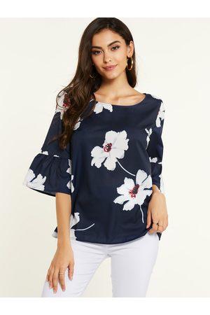 YOINS Random Floral Print Bell Sleeves Blouse