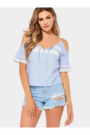 YOINS Women Blouses - Sexy Cold Shoulder Crochet Lace Trim Stripe Shirt