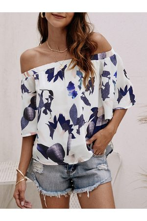 YOINS Women Tops - Off-The-Shoulder Random Floral Print Top in White