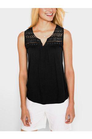 YOINS Women Tank Tops - Lace Insert V-neck Sleeveless Camis
