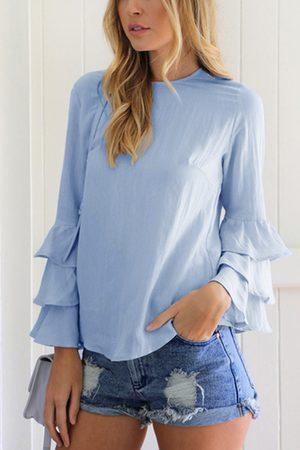 YOINS Women Blouses - Flared Sleeves Round Neck Blouse