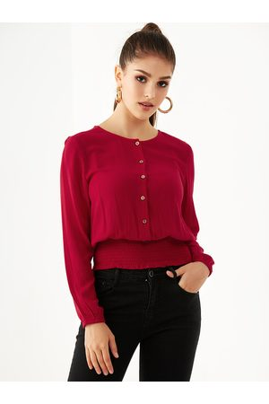 YOINS Women Blouses - Front Button Long Sleeves Smocked Blouse