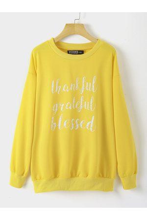 YOINS Women Long Sleeve - Plus Size Graphic Round Neck Long Sleeves Sweatshirt