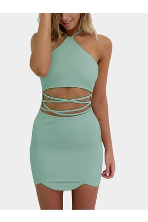 YOINS Women Bodycon Dresses - Army Sexy Halter Neck & Cutout Waist Mini Dress