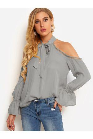 YOINS Women Blouses - Cold Shoulder Self-tie Front Plain Hollow Details Blouses